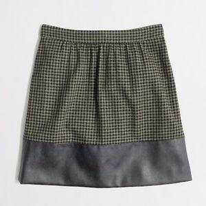 J CREW Houndstooth Tweed Leather Wool Mini Skirt 4